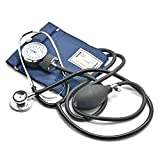 Belmalia Esfigmomanómetro Aneroide con Estetoscopio, Pera, Manómetro, Brazalete, Bolsa para Servicios de Socorro, Médico, Consultorio, Azul Negro
