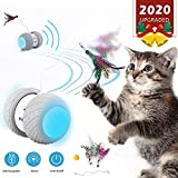 Automatic Cat Toys Automatic Feather/Ball Teaser Toys for Kitten/Cats USB Charging 360 Degree Self Rotating LED Light Ball Toy for Cat/Kitten Pet Entertainment Hunting Exercise (Cat Toys)