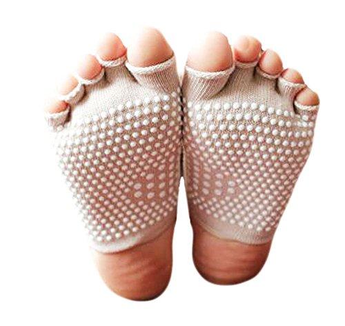 Black Temptation Cotton Semi Palme Zehe-Yoga-Socken Anti-Rutsch-Socken Absorbent-Weiß -