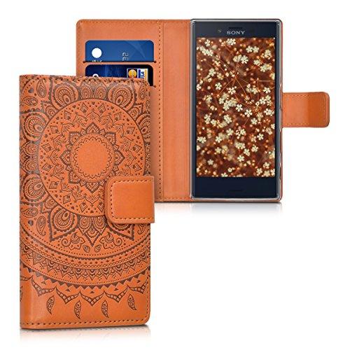kwmobile Wallet Case Kunstlederhülle für > Sony Xperia X Compact < - Cover Flip Tasche in Indische Sonne Design mit Kartenfach und Ständerfunktion in Dunkelbraun Hellbraun