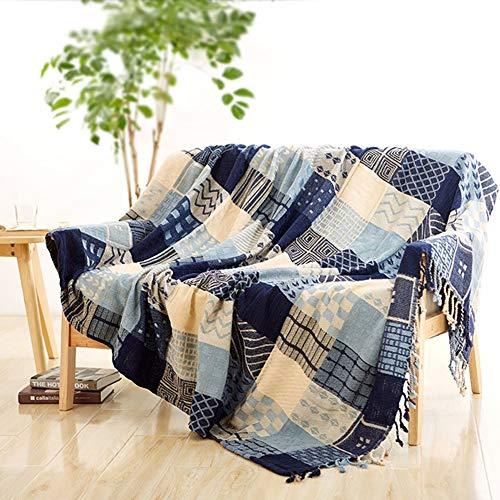 Ericcay Baumwolle Stricken Sofa Decke Retro Dekoration Sofa Abdeckung Slipcover Unikat Leicht Sofa Throw Für Wohnzimmer Blau 150X190Cm(59X75Inch) (Color : Blau, Size : 220X260Cm)