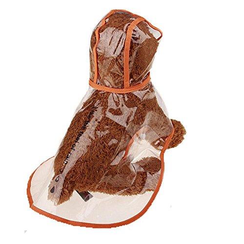 Dublehero Haustier Transparent Regenmantel,Niedlich Wasserdicht Regen Poncho Outdoor Rainsuit Mit Kapuze Jacke Kleidung Pet Regenbekleidung Kleidung (M, Orange) Orange Rainsuit