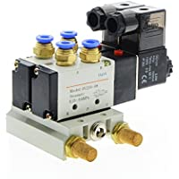 Woljay Pneumatic Double Solenoid Air Valve 4V230-08 DC 24V PT 1//4 3 Position 5 Way Normally Closed