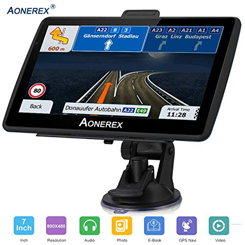 SAT NAV GPS Navigation System AONEREX-7-inch HD Touch Screen,Voice Car  Navigation System, Built-In 8GB&256MB,UK&EU Latest 2019 Maps Lifetime Free
