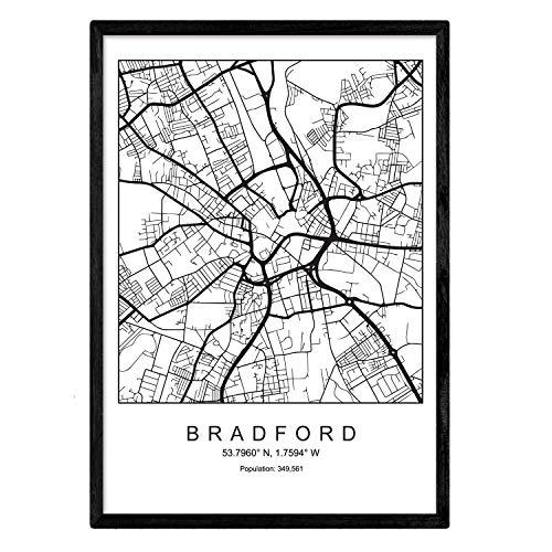 Bradford Wohnzimmer (Nacnic Drucken Stadtplan Bradford skandinavischen Stil in schwarz und weiß. A3 Größe Plakatrahmen Das Bedruckte Papier Keine 250 gr. Gemälde, Drucke und Poster für Wohnzimmer und Schlafzimmer)