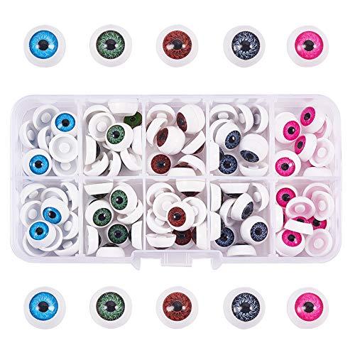 PandaHall Elite - Ojos de muñeca de plástico para Manualidades (100 Unidades, 12 x 6 mm, 5 Colores Variados)