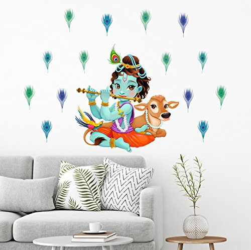 Wall Decals 'Lord Krishna Flute singing with Cow and Peacock Petal Decorative' Wall Sticker - (PVC Vinyl, 125 cm x 90 cm, Multicolour) by Paper Plane Design (PPD)  available at amazon for Rs.199
