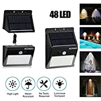 Solar Light Motion Sensor Lights Wall Lighting with Separate Solar Panel & Extension Cords, Waterproof Security Lamp for Driveway Patio Garden Path Yard (28 LEDs)