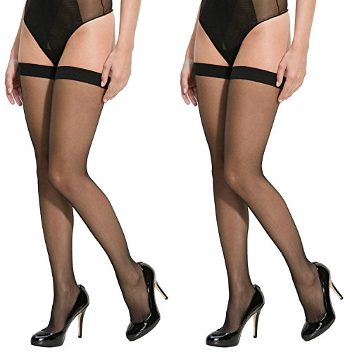 Lady Heart Anfanna Sheer Panty Hose / Stockings - Black Long Stockings ( Pack of 2 )