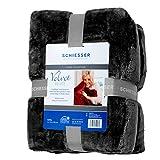 Schiesser 4260361349934 Velvet Deluxe Microfaser Wohndecke 150 x 200 cm, schwarz