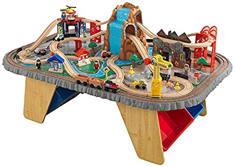 KidKraft Waterfall Junction Wooden Train Set and Table Toy, 112 Piece