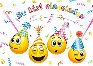"""Smiley-Einladungen (Set 2): """"LET´s HAVE a PARTY"""