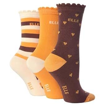 Kinder Mädchen Alltags Socken mit Muster (3-er Pack) (21-25, Alter: 2-3 Jahre) (Braun/Orange)