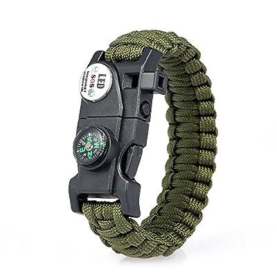 Lixada Survival Armband Essential Survival Gear Kit mit SOS Led Light Compass Feuerstarter Whistle für Camping Wandern Survival Trips.