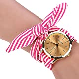 Uhren Damen, HUIHUI Geflochten Armbanduhren Günstige Uhren Wasserdicht Beliebte Casual Streifen Blumentuch Quarz Vorwahlknopf Armband Armbanduhr Luxus Armband Coole Uhren Lederarmband Mädchen Frau Uhr (Rose rot)