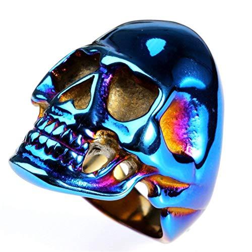 ahl Weinlese gotische Biker Skull Ring Punk Kopf Knochen für Holloween ()