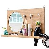 GHMM Miroir de Maquillage, Miroir de Vanité de Toilette de Salle de Bains de Mur Monté Nordique en Bois Nordique avec L'étagère