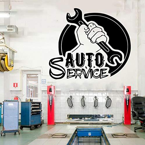 shiyusheng Auto Service Window Vinyl Cut Sticker, Pneumatici, Riparazione, Lavaggio Auto, Auto, Adesivo da Parete, Murales Fatti a Mano Fai da Te 48x42cm