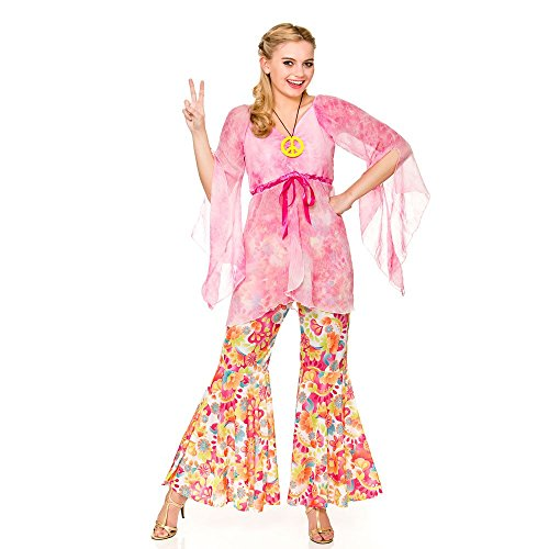 Adult Female Groovy Hippie Fancy Dress Costume. Sizes 10 to 24.