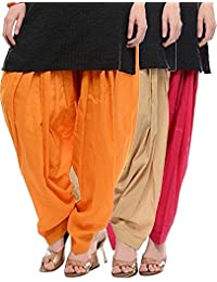 BILOCHI'S Orange, Beige And Rani Pink Pure Cotton Patialas in a Combo Pack For Womens