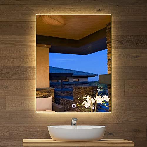 Bathroom mirror Specchio da Bagno Rettangolare retroilluminato a LED da 50 * 70cm Specchio da Parete Senza Cornice con Interruttore Touch Intelligente