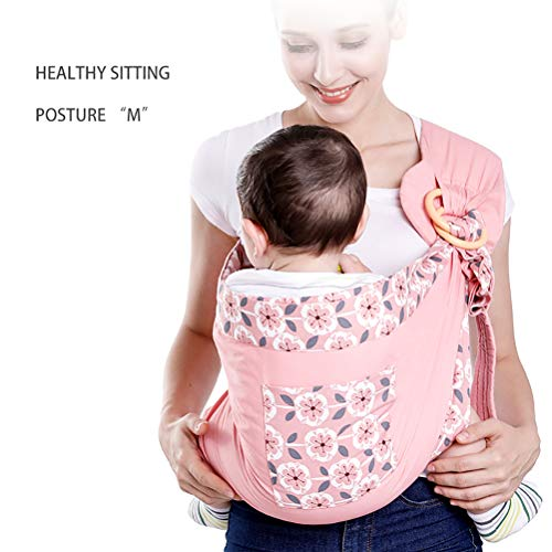 NINI Portabebés de Doble Uso para recién Nacidos con portabebés de Tela de Malla Porta bebés para Lactancia de hasta 130 LB (0-36 m) Portabebés,Pink1