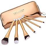 DE'LANCI 7pcs Pro Makeup Brush Set Blusher Eye Shadow Brushes Kit With High Grade Rose Gold Zipper Cosmetic Pouch