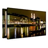 Premium Textil-Leinwand 75 x 50 cm Quer-Format Zürich in der Nacht   Wandbild, HD-Bild auf...