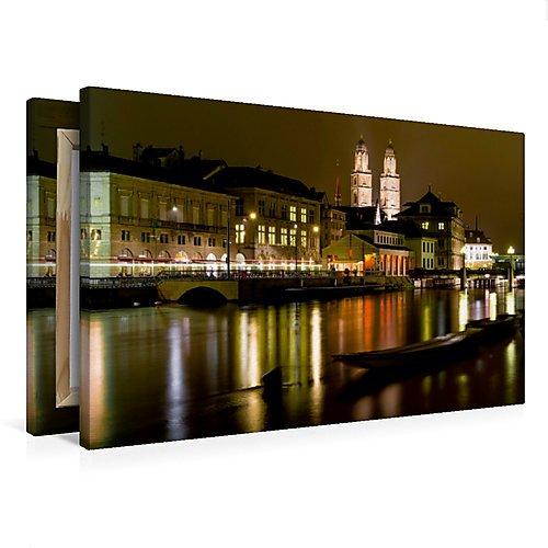Premium Textil-Leinwand 75 x 50 cm Quer-Format Zürich in der Nacht | Wandbild, HD-Bild auf...