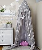 ComfortBaby ® Babybett-Himmel - Höhe: ca. 2,4 m (GrauMitWeißenSternen)