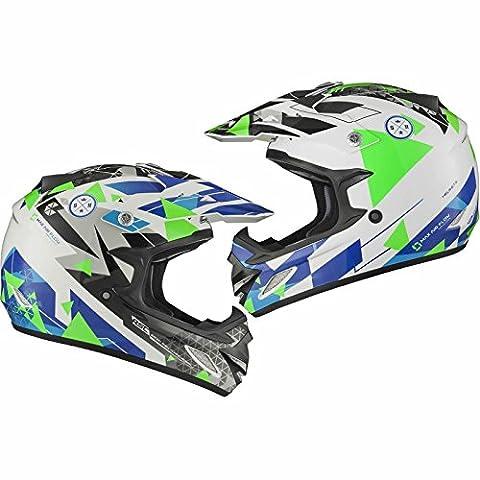 Shox MX-1 Delta Motocross Helmet XL Blue Silver Green