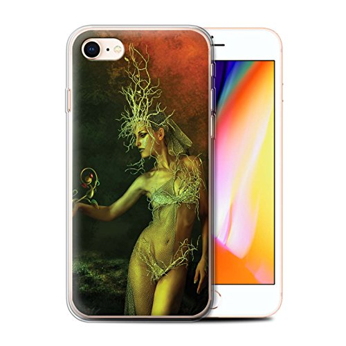 Officiel Elena Dudina Coque / Etui Gel TPU pour Apple iPhone 8 / Baiser de Lune Design / Un avec la Nature Collection Reine des Forêts