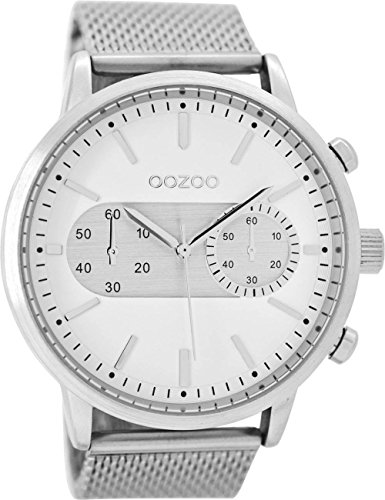 Oozoo Herrenuhr mit Metallband 49 MM Weiss/Silberfarben C9070