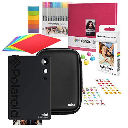 Polaroid Mint Sofortbildkamera (Schwarz) Sammelalbum-Kit mit Eva-Etui