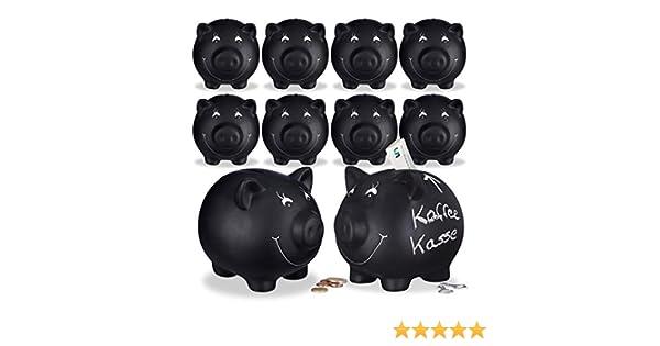 Noir Relaxdays Lot de 3 Tirelire Cochon Ardoise Inscription Personnalisable C/éramique Mariage Anniversaire Bapt/ême HLP 14x17x13cm