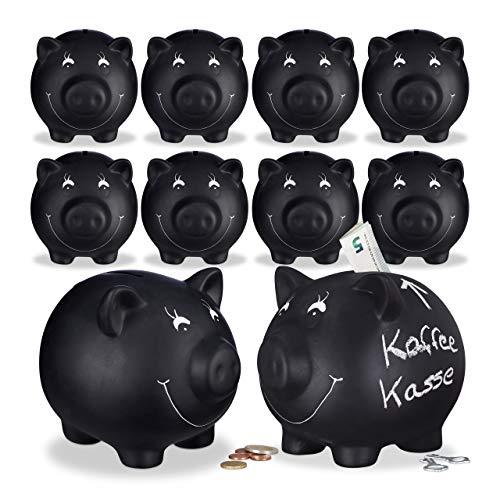 Relaxdays 10x Sparschwein, zum Beschriften, Keramik, Kreide, Hochzeit, Geburtstag, Taufe, Spardose, HxBxT 14 x 17 x 13 cm, schwarz