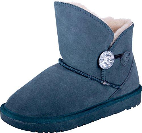 Almwerk Damen Winter-Stiefel Boots Kurzschaft aus Echtleder warm gefüttert in Verschiedenen Farben, Größe:39, Farbe:Petrol