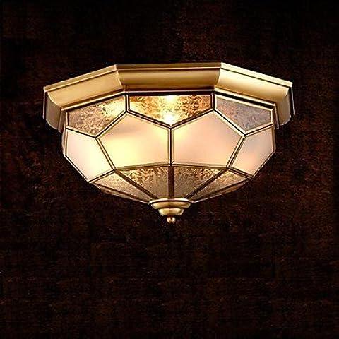 artes claras Lámpara de techo de latón, dos luces, Vintage Cobre Total Glass (C120002)