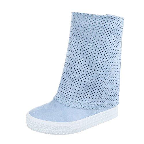 Ital-Design Keilstiefeletten Damen-Schuhe Plateau Keilabsatz/Wedge Keilabsatz Stiefeletten Hellblau, Gr 39, 6623-Pa-