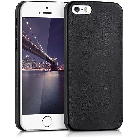 kwmobile Funda blanda con recubrimiento de cuero sintético para el Apple iPhone SE / 5 / 5S en negro