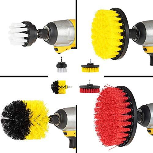 Ouneed-Drill Brush Bürstenaufsatz für die Bohrmaschine - Universell passende Bürste für den Akkuschrauber - Scrubber Set bestehend aus 4 Bürsten mit unterschiedlichen Härtegraden