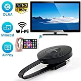 Timmil Inalámbrico WiFi Pantalla HDMI 1080P Full HD Receptor de televisión Adaptador Soporte para Netflix Youtube Miracast Airplay Mirroring para Android/Mac/iOS/Windows