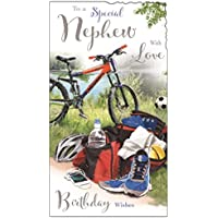 Greeting Card (JJ9455) Nephew Birthday - Bicycle and Football - Velvet Moments Range - Embossed and Foil Finish