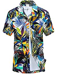 BOLAWOO Camisa Hombre Manga Corta Cuello Solapa Un Solo Pecho Camisas Hawaiana Playa De Verano Coconut Tree Print Blusas… jGWvsyHxo