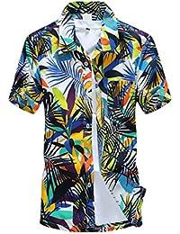BOLAWOO Camisa Hombre Manga Corta Cuello Solapa Un Solo Pecho Camisas Hawaiana Playa De Verano Coconut Tree Print Blusas…