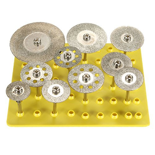 BABAN 10X 1/8 Diamond Saw Cut Off Discs Wheel Blades Rotary Tool Set Shank for Dremel by BABAN -
