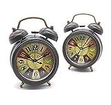 BlueBD Vintage Mini Mute Wecker mit Nachtlicht, Retro Arabischen Ziffern Analog Quarzwecker Kein Ticken Doppelglockenwecker Alarm Tischuhr Geräuschlos Uhr Alarm Clock