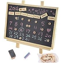 gossipboy–Calendario DIY Lavagna Lavagna Lavagna messaggio cornice portafoto in legno da appendere decorazione scrivania Decor Graffiti Board con magnete, gesso e gomma