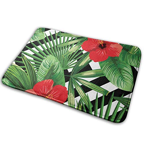 Badezimmerteppich Rutschfeste Fußmatte Anti-Slip Memory Foam Doormat Floor Mat Tropical Palm Leaves Hibiscus Home Decor Nursery Rugs Indoor Outdoor Entrance Rug Machine-Washable Fast Drying Anti Fati - Hibiscus Home Decor