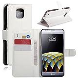 HL Brothers LG X Cam Hülle, HualuBro [All Around Schutz] Premium PU Leder Leather Wallet HandyHülle Tasche Schutzhülle Case Flip Cover mit Karten Slot für LG X Cam Smartphone (Weiß)
